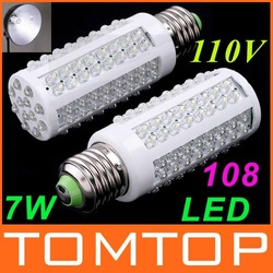 Ultra Bright 6000-6500k E27 7W 110V 108 LED Light Bulb Corn light LED Lamp Drop shipping free shipping(China (Mainland))
