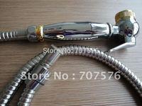 Free Shipping  Brass Toilet Shattaf Bidet Spray Handheld Muslin Shower head TS708-1  Chrome +gold