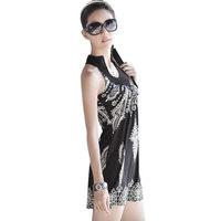 Free Shipping!HOT 2014 New Mini dress Fashion Falbala Waist skirt White Black Button M RG6015