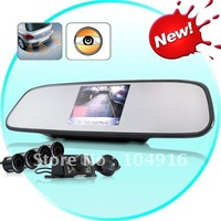 New Arrival Complete Car Reversing Kit - Rearview Camera + Parking Sensor + Rearview Mirror,Free Shipping