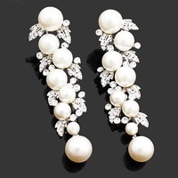 pearl drop earrings rhinestones BA-120 2012 2 colors unique design  clear white crystals wedding Jewelry dangle earrings