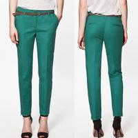 2014 New Autumn Korea Women's Pencil Pants Leggings Elegnat Spring Pocket Ladies Casual Pants Trousers With Belt 2W0093