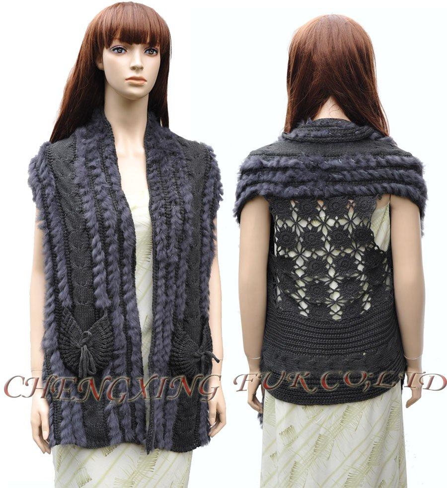 CX-G-B-105 Women Fashion Genuine Rabbit Fur Knitted Sweater Vest / BLACK/ BROWN/ GREY ~ DROP SHIPPING(China (Mainland))