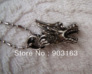 Wholesale 1Xpcs best selling New Arrival Man Stainless Steel Wolf Pendant free Chain Gift + free shipping