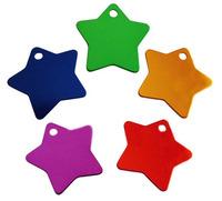 hot    dog  star shaped  id  tags 3.5cm  aluminium