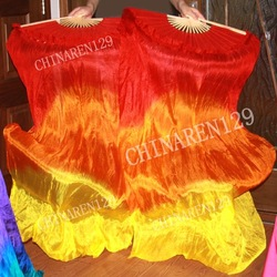 PAIRS 1.5M HAND MADE BELLY DANCE 100% SILK FAN VEILS No sequins FREE SHIPPING HOT SALE(China (Mainland))