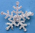 Hotsale fashion X'mas Snowflake rhinestone brooch flat back Christmas white silver brooch set, free shipping, 10sets/pack!