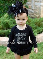 Newest Long sleeve baby tutu romper,black petti romper,baby bodysuits 3 pieces/lot free shipping