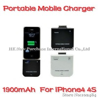 5pcs/lot 1900mAh Portable Mobile Charger External Battery for iPod/iPhone4S Black/White & Drop Shipping