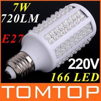 Corn LED Bulb E27 720LM 220V/110V 7W 166pcs LED Lamp White Spotlight 360 Degree LED Lighting Free Shipping