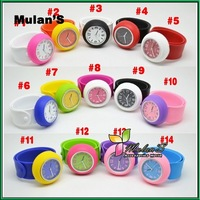 Mulan'S 50pcs/lot 14colors factory directly removeable Round face Slap Silicon watch Children women's Watch ,FREE SHIPPING DHL