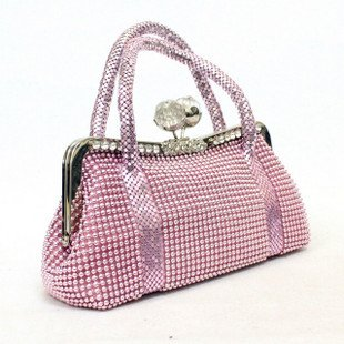 Wholesale fashion lady banquet handbag Pure color and Around with the crystal Dinner bag Free Shipping lpb003(China (Mainland))
