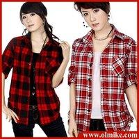 Promotional Free shipping 2014 New fashion women 100% Cotton clothes check shirt shirts Blouses M L XL XXL WTS057