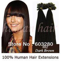 40cm/45cm/50cm/55cm Keratin nail tip Natural Indian Remy human hair extension 40g/50g/60g/70gram #02 Dark brown color 100pieces