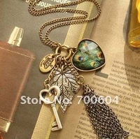 romantic Vintage jewelled gold Key Leaf heart peacock peafowl tassel chain pendants sweater chain Jewelry Necklace harm