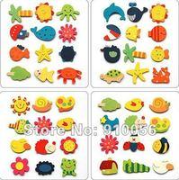 Free shipping! 120pcs lot Lovely cartoon wooden fridge magnet,Children's educational toys,refrigerator magnet,Home Decoration