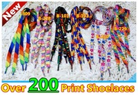 Big Promotion~100pair/lot~Heat-transferred Fat Print Shoelaces~over 200 different style~Print Shoelaces~DHL free shipping