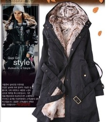 Faux fur lining women's fur coats winter warm long coat jacket clothes wholesale Free Shipping 88(811)(China (Mainland))