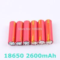 6pcs/lot  Sanyo Original 18650 UR18650FM  Li-ion rechargeable battery 2600mah With Tabs Free Shipping