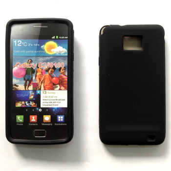 Free shipping silicone GEL Skin Case cover for Samsung galaxy s2 I9100 mobile phone + screen protector