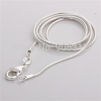 """Free shipping Xmas+ Wholesale 1mm Sterling 925 silver 100% snake chains necklace C008 16"""" ,18"""", 20"""", 22"""",24inch wedding party(China (Mainland))"""