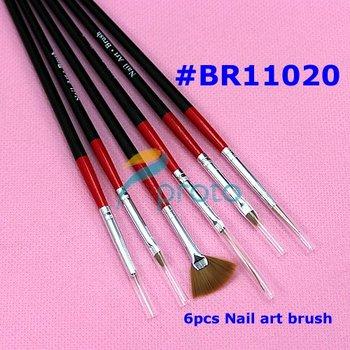 10 SETS 6pcs Nail Art Design Brushes UV Gel Builder Set Painting Draw Pen Polish Red Black Handle wholesales SKU:G0086XXX