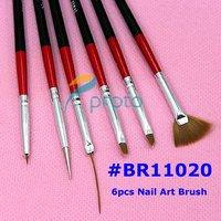 Freeshipping-6pcs Nail Art Design Brushes UV Gel Builder Set Painting Draw Pen Polish Red Black Handle wholesales  SKU:G0086XX