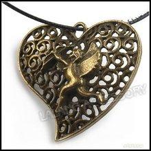 45pcs/lot Wholesale 33mm Love Heart Cupid Pendants Alloy Vintage Bronze Necklace Pendants Fit Jewelry DIY Charms 140522