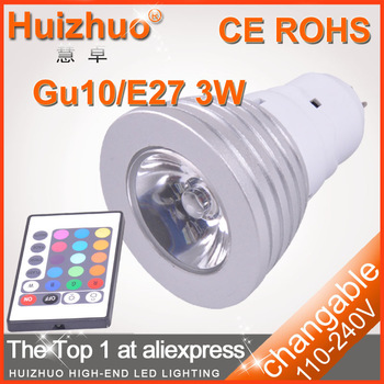 [Huizhuo Lighting]Free Shipping 50pcs/lot E27 3W AC85-265V RGB LED Bulb Light With IR Controller