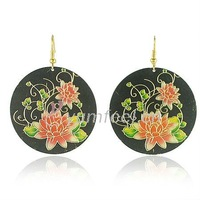 Fashion and cheap metal earrings jewelry painted flower earrings