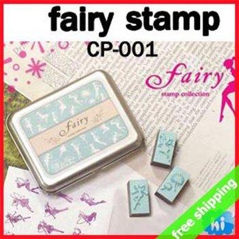 FREE SHIPPING DIY Stamp Set Full Fairy Creative Korean Brand Tin Box Multifunction EVA Funny Fashion Gift 9sets say hi 001