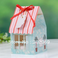 Free shipping  PVC window Single House Shaped Box  ( BF162A)