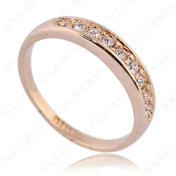 Hot Sale Jewelry Free Ship Wholesale 18K Gold Planted Finger Ring Use Clean Crystal Simulation of Diamond Wedding Ring R061R2