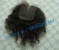 "Cheap curly brazilian virgin   hair silk closure 3.5""*4"""