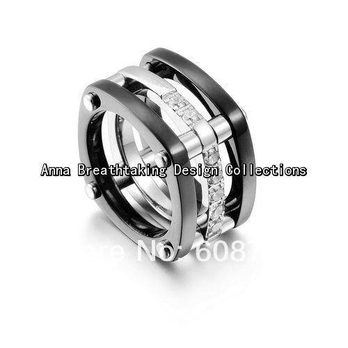 Stunning Elegance Designer Ring,Original Ring in 925 Sterling Silver and Black Titanium,Clearly Pave Stone Ring For Pretty Women(China (Mainland))