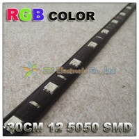 Free shipping + wholesale + 10pcs/lot + 12v car home smd led strip light waterproof  30cm 12 5050 strip RGB color changeable