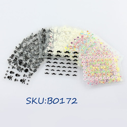 Freeshipping-50 x 3D Design Tip Nail Art Sticker Decal Manicure Mix Color Self-adhesive Flower Decal Decoration set SKU:B0055(China (Mainland))