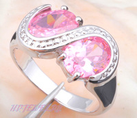 Designers ! New arrival So shining Free Shipping Trendy Pink Crystal Topaz general Silver Rings Fashion jewelry JR474
