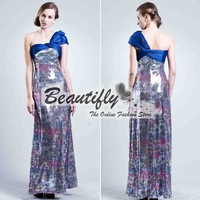 New 2014 Summer A-Line Full Length Sequins Prom Dresses, One Shoulder Long Evening Dresses with Bow, Cute Graduation Dresses
