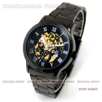 MINGEN SHOP - New Fashion Black steel Strap Men Watch Hollow Automatic Mechanical Watch J019 watch wholesale