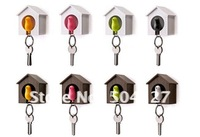 Free shipping 10pcs/lot Original Qualy Sparrow Key Ring with Birdhouse Keychain Gadget for Home Decoration
