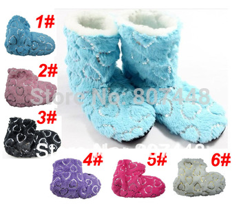 6pairs/lot Ladies Soft Shinning Fur Filled Boots Winter Foot Warmer Floor Slippers 6 Colors