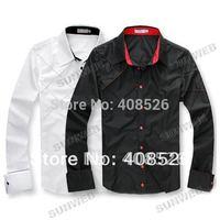 2014 fashion Casual Slim Fit Stylish Polyester Men's Long Sleeve dress shirts Luxury Black White M, L, XL Free Shipping 3276