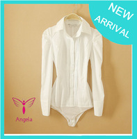 New Arrival Fashion Women Elegant OL Long Sleeve vertical white Shirt one-piece shirt novelty body blouse WSH-093