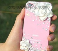 Free shipping 40% off  DIY Crystal Diamond Luxury bow case for iphone 4 4s cell phone smart housing