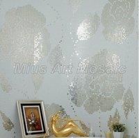[Mius Art Mosaic] Bisazza Winter Flowers Oro Bianco Glass Mosaic Fireplace Backsplash Tile Ideas / 003