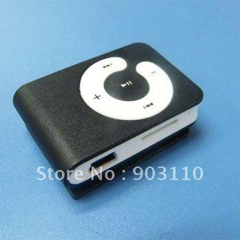 WHOLESALE GIFT & free shipping - New Mini Micro SD/TF Card metal mp3 Clip Mp3 player mini mp3 usb player earphone player Black