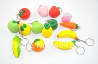 Free shipping,Fruit shape soft plastic keychain,soft fruit keychain,size:5cm,1.97inch