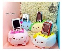 Min. Order 15$, Plush Stuffed Toy Japan Tofu Cellphone Holder Case Mobile Phone Holder Case Car Decoration Holders Pouch Bag(China (Mainland))