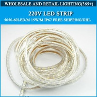 20m 220V LED Strip 5050-60led/m 15w/m IP67 Free shipping/DHL